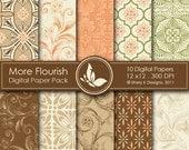 More Flourish Paper Pack - 10 Printable Digital papers - 12 x12 - 300 DPI