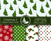 Printable Christmas Paper Pack 3 - 5 Printable Digital paper - 12 x12 - 300 DPI