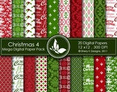 Christmas 4 Mega Paper Pack - 20 Printable Digital papers - 12 x12 - 300 DPI ////// 4