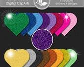 """Glitter Hearts-  Digital clip art - 3"""" x 3"""" - 300 DPI"""
