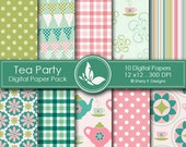 Tea Party Paper Pack - 10 printable Digital Scrapbooking papers - 12 x12 - 300 DPI