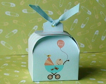 Printable Baby Boy shower favor box, cupcake wrapper and topper