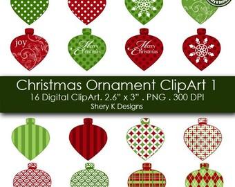 Christmas Ornament Clip Art - 16 Digital clip art -2.6x3 - 300 DPI