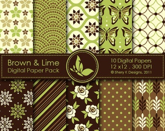 Brown & Lime Paper Pack - 10 Digital papers - 12 x12 - 300 DPI