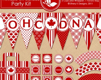 Printable OH CANADA Party Kit - 12 banners - 12 cupcake toppers - 3 cupcake wrappers - 1 favors bag and 1 font - 300 DPI