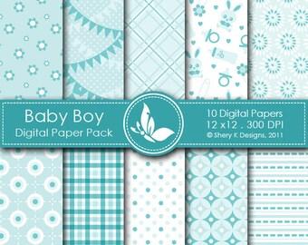 Baby Boy Paper Pack - 10 Digital paper - 12 x12 - 300 DPI