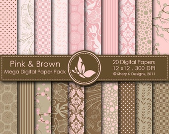 Pink & Brown Mega Paper Pack - 20 Printable Digital papers - 12 x12 - 300 DPI