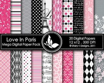 Love In Paris Mega Paper Pack - 20 Printable Digital papers - 12 x12 - 300 DPI