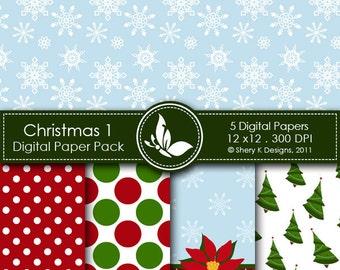 Christmas Paper Pack 1 - 5 Printable Digital paper - 12 x12 - 300 DPI
