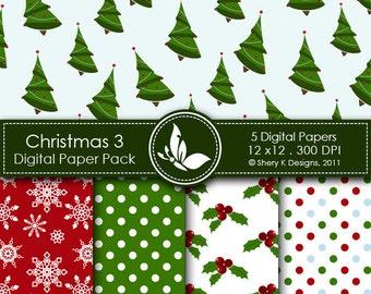 Printable Christmas Paper Pack 3 - 5 Printable Digital paper - 12 x12 - 300 DPI