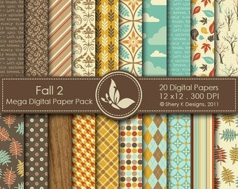 Fall 2 Paper Pack - 20 Printable Digital papers - 12 x12 - 300 DPI