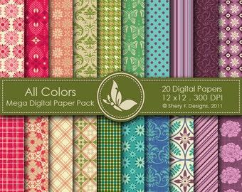 All Colors Mega Paper Pack - 20 Printable Digital papers - 12 x12 - 300 DPI