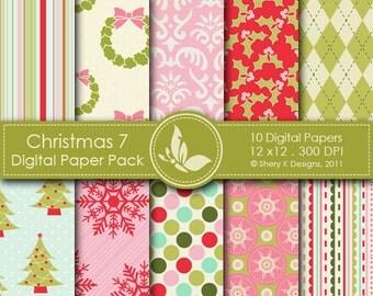 Christmas 7 Paper Pack - 10 PrintableDigital papers - 12 x12 - 300 DPI ////// 7