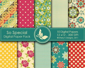 So Special Paper Pack - 10 Digital papers - 12 x12 - 300 DPI
