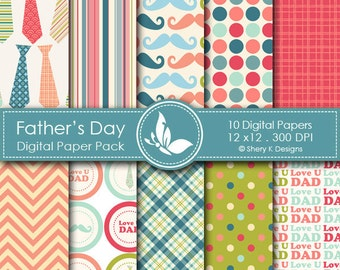 Father's Day Paper Pack - 10 printable Digital Scrapbooking papers - 12 x12 - 300 DPI