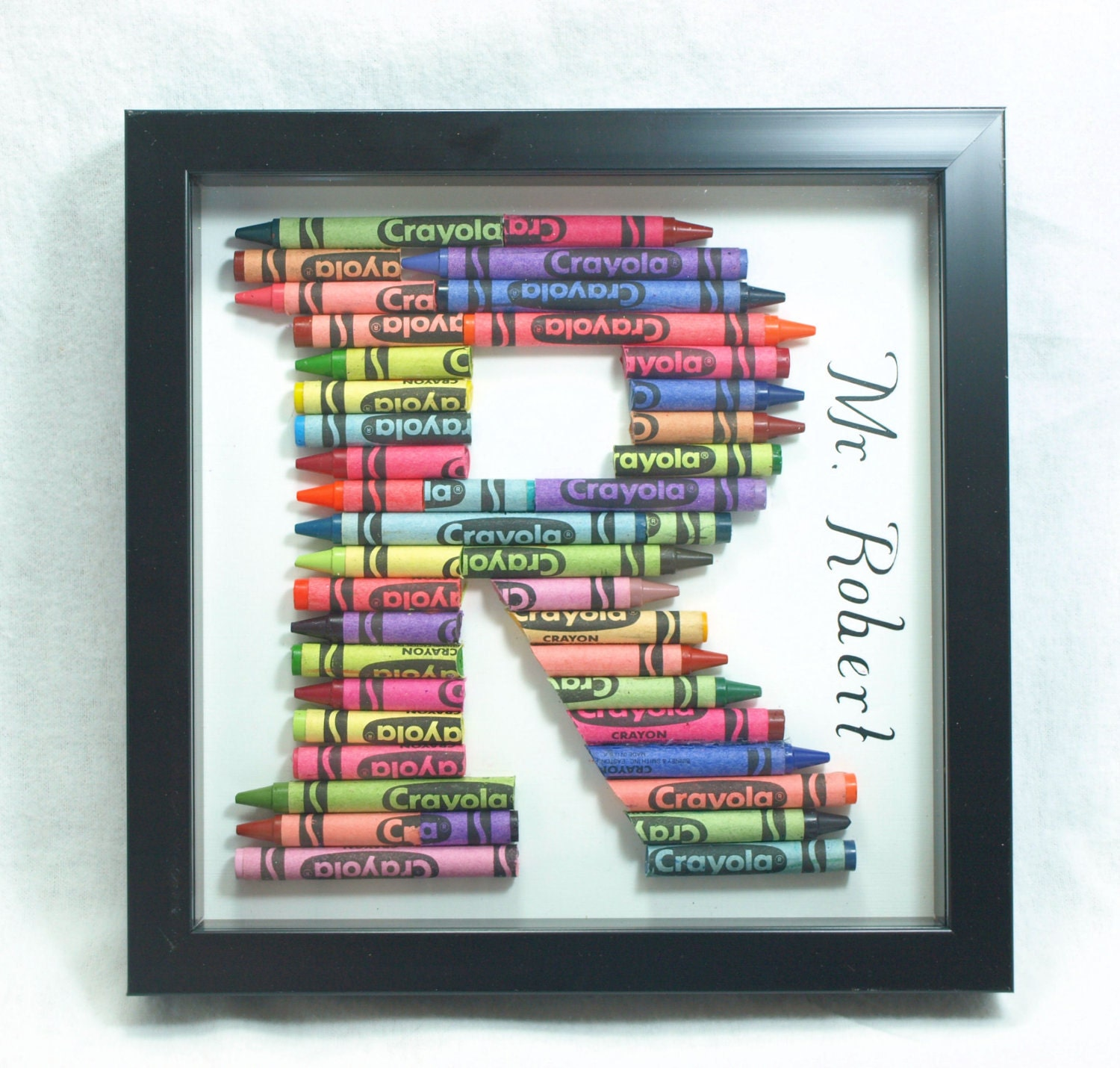 crayon letter shadow box frame zoom