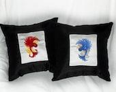 "Tattoo Sparrows Decorative Pillow Set ""Good vs. Evil"" 14x14 inch decorative pillows (set of 2)"