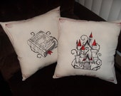 Fairy Tale Decorative Pillows 14x14 inch throw pillows (set of 2)- Choose your fairytales-  adjustable in color