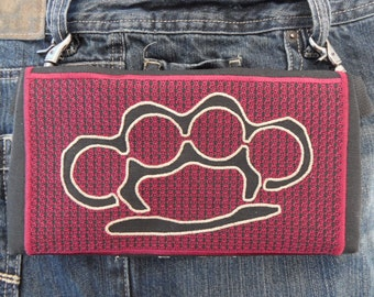 "HandsFree Bag Hip Pouch Embroidered  Belt Bag ""Busted"" Brass Knuckles Burgundy & Brass Gold Bikers Hikers Tourist Rider"