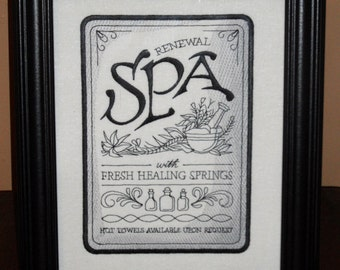 "Spa Embroidery Sign ""The Healing Spa""  8x10 inch framed embroidery sewing in black and silver- adjustable in color"