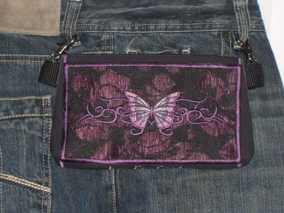 "HandsFree Bag Hip Pouch Embroidered  Belt Bag ""Butterfly Tattoo"" Plum Purple Bikers Hikers Tourist Rider Sturgis Motorcycle Bike Rally"