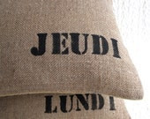antique french grains sack cushion , Thursday in France