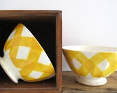 DIGOIN  set of 2  french  vintage cafe au lait bowl ,yellow and white, geometric pattern