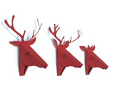 set of 3 Faux Deer Head, Faux Taxidermy , Greeting card, Red, Original Artist Cards ,Holidays cards