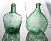 french extra large green glass bottle, demijohn
