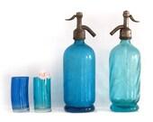Antique french aqua blue seltzer bottle , Paris