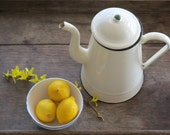 French vintage light yellow Coffee Pot, shabby chic white, Vintage French Enamelware Coffeepot