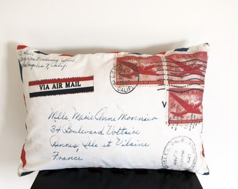 Cushion cover , French aeropostale, french tag , Decorative Pillow cover