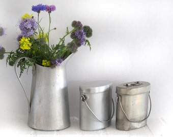 vintage French  Lunch Pail in aluminium