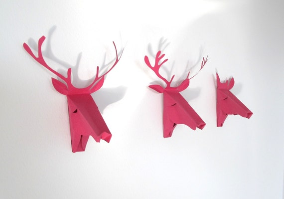 set of 3 Faux Deer Head, Mini faux taxidermy , Greeting Card,Pink, Mini Trophy Wall Hanging Girls room Decor