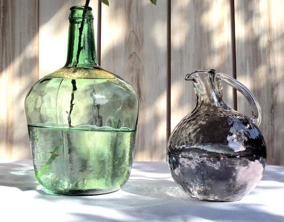 Extra large green glass bottle, demijohn