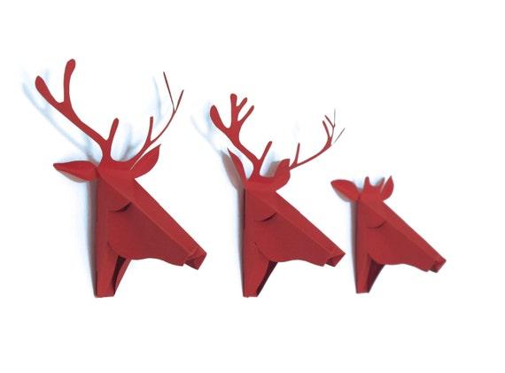 3 petites tête de cerfs, cartes cadeau à découper et monter, en rouge