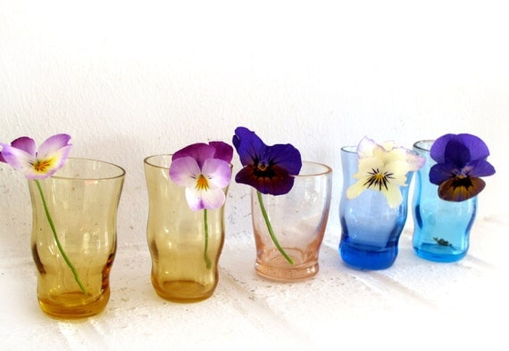 12 french mini colored glasses for floral decoration or appetizzer
