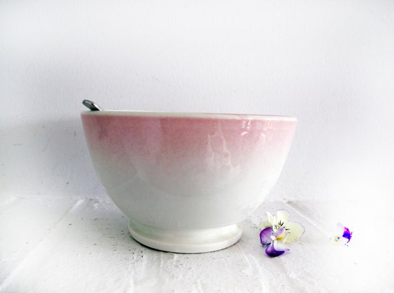french vintage cafe au lait bowl, pastel pink shades of white.
