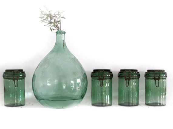 RESERVED 1 antique Green french canning jar , DUR FOR,large Size