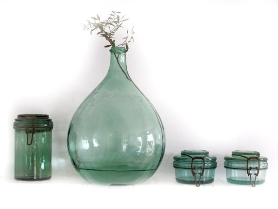 1 small L'IDEAL canning jar, antique french green glass caning jar