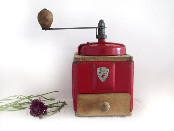 French Peugeot red metal coffee grinder -French enamel and wood coffee mill  Peugeot -red kitchen-