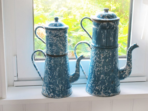 Enamelware French Coffeepot - circa 1930's very large French vintage  blue and wite enamel completed coffee pot , granite ware
