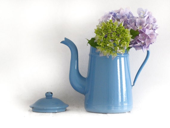 Circa 1920 , enamelware French vintage lavender blue grey enamel coffee pot, enamel vase, enamelware