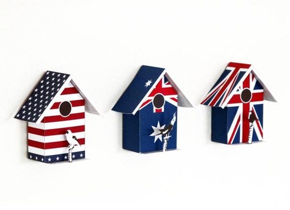 3 small birdhouses, printable  DIY kits, Union Jack , Australia flag , American Flags