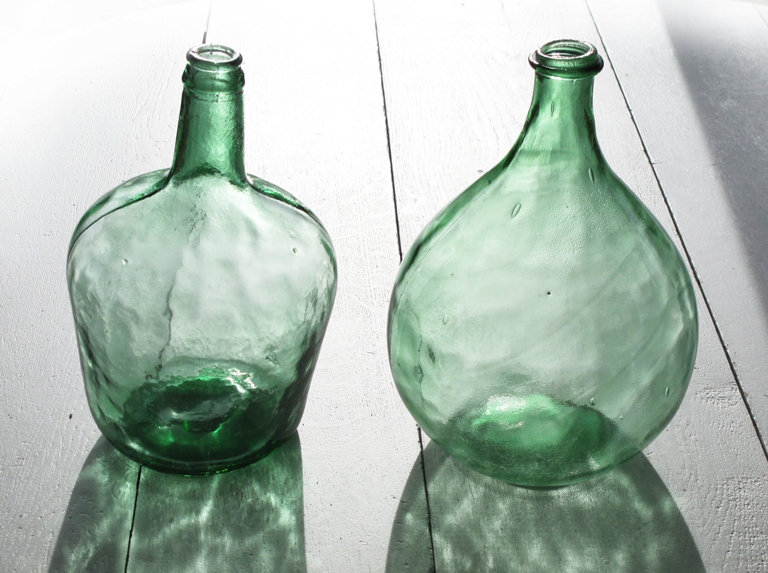 French Extra Large Green Glass Bottle Demijohn Carboy Round
