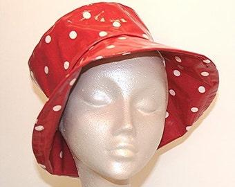 PVC Rain Hat in Red spot