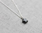simple Black star pendant silver chain Necklace - S2094