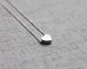 Cute tiny silver Heart  charm Necklace - S2109 -1