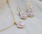 Dainty pink flower charm Necklace and Earrings SET