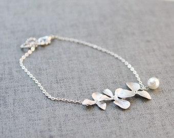 Graceful orchid flowers silver chain bracelet - S3056
